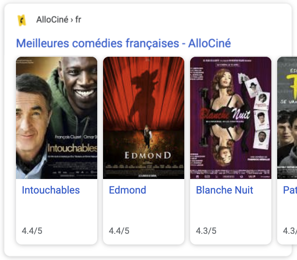 movie carousel example in search results